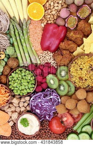 Healthy food for vegan lifestyle. Plant based eco friendly, sustainable, save the planet,  concept. High in protein, omega 3, antioxidants, anthocyanins, lycopene, fibre, vitamins, minerals. Top view.