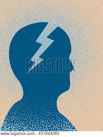 Person In Shock. Vector Illustrationan Illustration Of A Person In Shock As Illustrated By A Lightni