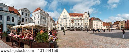Tallinn, Estonia - August 23, 2021: Tallinn Market Square. Panoramic Image Of Old Town Square In Med