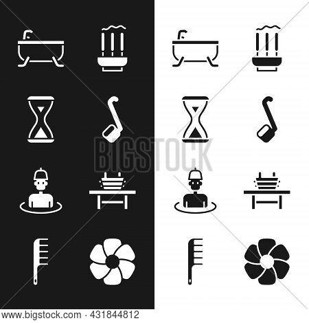 Set Sauna Ladle, Hourglass, Bathtub, Incense Sticks, Man In The Sauna, Bench With Bucket, Flower And