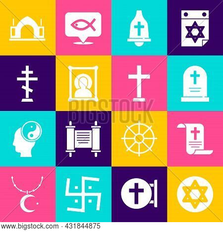 Set Star Of David, Decree, Paper, Parchment, Scroll, Tombstone With Cross, Church Bell, Christian Ic