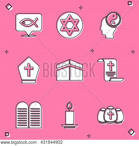 Set Christian Fish, Star Of David, Yin Yang, Pope Hat, Kaaba Mosque, Decree, Paper, Parchment, Scrol