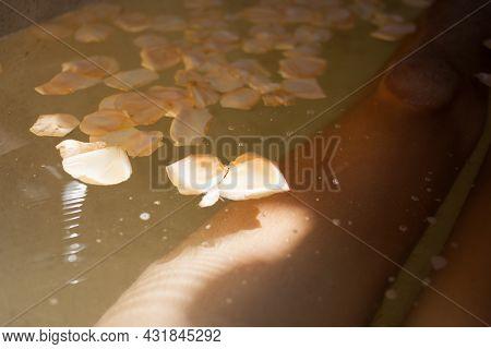 Beige Rose Petals On Water Of Bath Tub, Male Legs