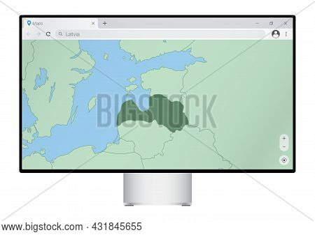Computer Monitor With Map Of Latvia In Browser, Search For The Country Of Latvia On The Web Mapping
