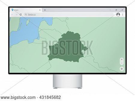 Computer Monitor With Map Of Belarus In Browser, Search For The Country Of Belarus On The Web Mappin