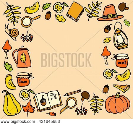 Vector Template Of Autumn Icons In Yellow-orange Tones. Hand-drawn Frame In The Style Of Doodle Autu