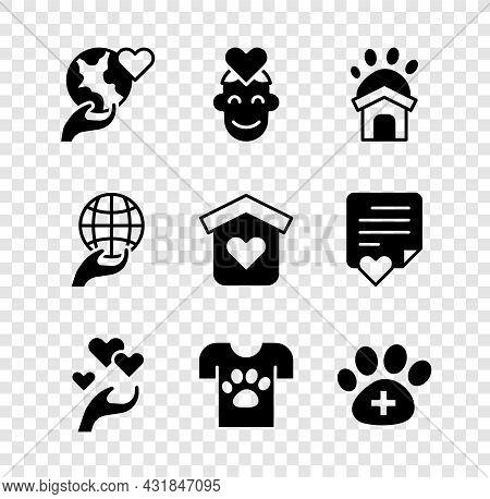 Set Hand Holding Earth Globe, Volunteer, Animal Shelter House, Heart Hand, Volunteer, Veterinary Cli