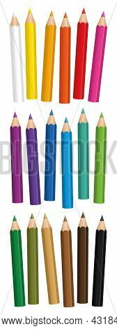 Short Crayons - Colorful Small Pencil Set, Loosely Arranged - Isolated Vector Illustration On White