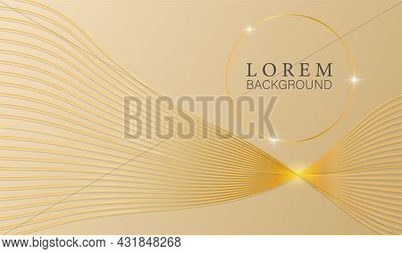 Luxury Golden Pastel Abstract Background Golden Line Element. Cute Colorful Modern Template Deluxe D