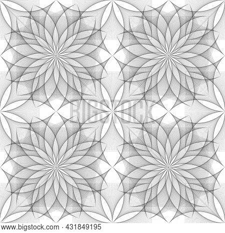 Seamless Flower Of Life Symbol, Square Template, Geometric Wireframe Sacred Lotus Flower, Thread Art