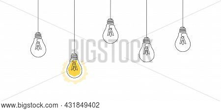 One Continuous Line Drawing Of Hanging Light Bulbs With One Shining. Concept Of Creative Idea In Sim