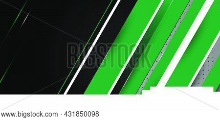 Green White Geometric Design With Black Background Vector Illustration. Nigeria Independence Day Wit
