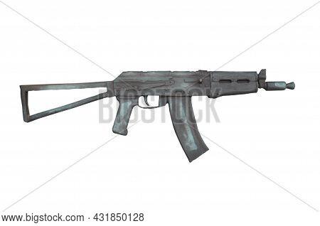 Aksu 74. Shortened Folding Kalashnikov Assault Rifle. Barillef Isolated On White Background.