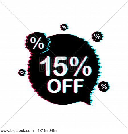 15 Percent Off Sale Discount Banner. Discount Offer Price Tag. 15 Percent Discount Promotion Flat Gl