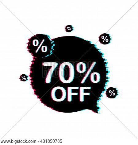 70 Percent Off Sale Discount Banner. Discount Offer Price Tag. 70 Percent Discount Promotion Flat Gl