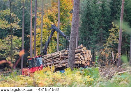 A Forest Vehicle In A Forest Clearing Felled Trees.
