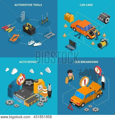 Isometric Isolated Icon Set With Different Stages Of Service Like Car Care Breakdown Vector Illustra