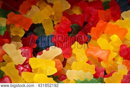A Sweet Temptation Made Up Of Gummy Bears And Other Shapes.
