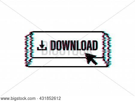 Download File Glitch Icon. Document Downloading Concept. Trendy Flat Design Graphic With Long Shadow