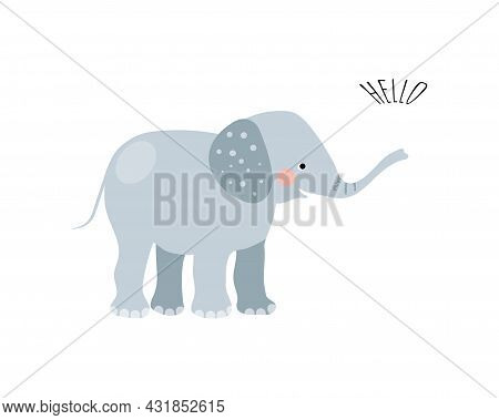Cute Elephant In Simple Hand Drawn Style. Elephant Isolated On A White Background. Print For T-shirt