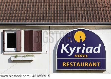 Macon, France - March 15, 2020: Kyriad Hotel Logo On A Wall. Kyriad Is A Hotel Chain In France And B