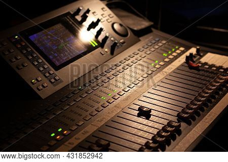 Ambient Shoot Of A Modern Digital Audio Mixing Device For Professional Sound Mixing At A Concert Ven
