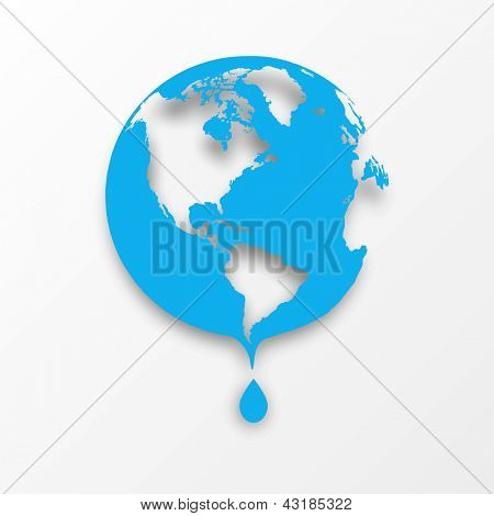 Vector blue earth globe with drop of water. Eco concept. poster