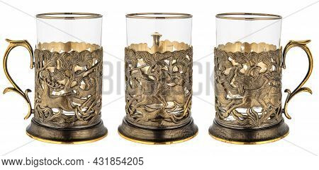 Metal Brass Cup Holder With Empty Glass