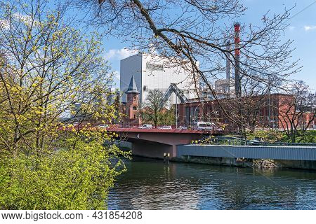 Berlin, Germany - April 20, 2021: Combined Heat And Power Plant Moabit With Its Historical Built In