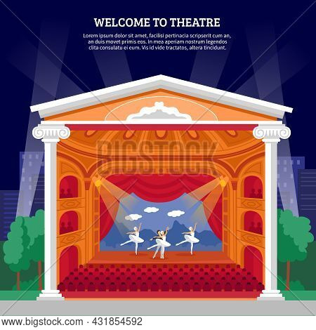 Theatre Performance Playbill Colorful Poster Print With Ballet Dancers On Stage For Program Booklet