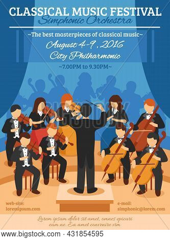 Classical Music Festival Flat Poster With Musicians Of Symphonic Orchestra And Conductor Vector Illu