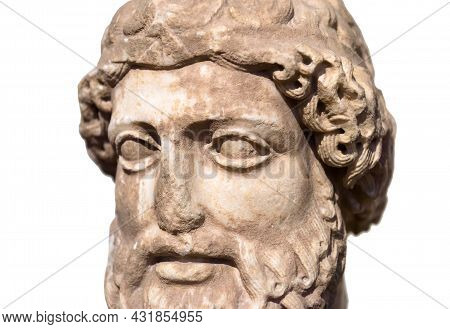 Ancient Greek Marble Sculpture Of Man, Classical Head. Remains Of Culture Of Past Civilization In Gr