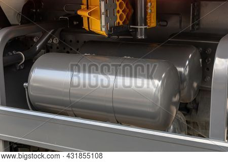 Truck Air Tanks. Air Reservoirs Of The Air Brake System Of The Truck. Parts Of A New Truck Close-up.