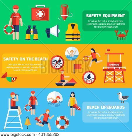 Beach Lifeguards Station Service And Safety Equipment Information 3 Flat Horizontal Banners Set Abst