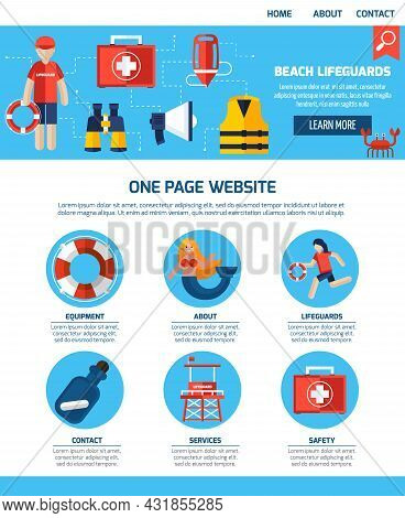 Beach Lifeguards Interactive Webpage With Infographic Elements Learn More Button And Contact Informa