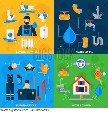 Plumber Serviceman Tools Kit For Fixing Pipeline Leaks 4 Flat Icons Square Composition Abstract Isol