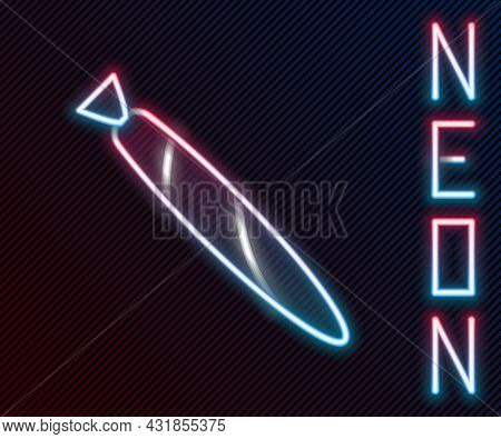 Glowing Neon Line Marijuana Joint, Spliff Icon Isolated On Black Background. Cigarette With Drug, Ma