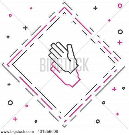 Line Rubber Gloves Icon Isolated On White Background. Latex Hand Protection Sign. Housework Cleaning