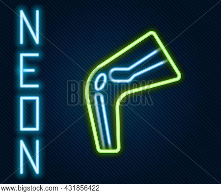 Glowing Neon Line Bone Pain Icon Isolated On Black Background. Orthopedic Medical. Disease Of The Jo