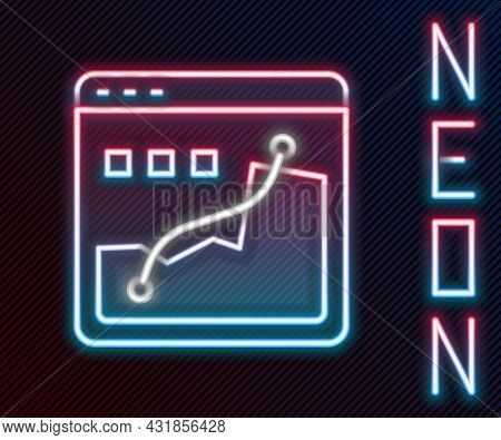 Glowing Neon Line Histogram Graph Photography Icon Isolated On Black Background. Colorful Outline Co