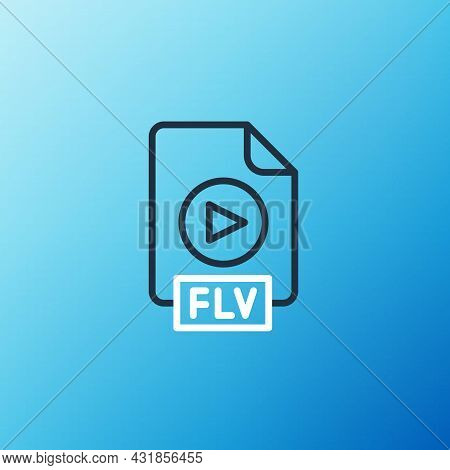Line Flv File Document Video File Format. Download Flv Button Icon Isolated On Blue Background. Flv