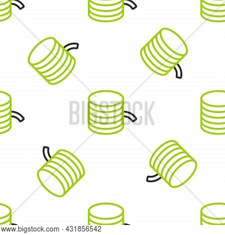 Line Plastic Filament For 3d Printing Icon Isolated Seamless Pattern On White Background. Vector