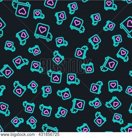 Line Delivery Truck With Heart Icon Isolated Seamless Pattern On Black Background. Love Delivery Tru