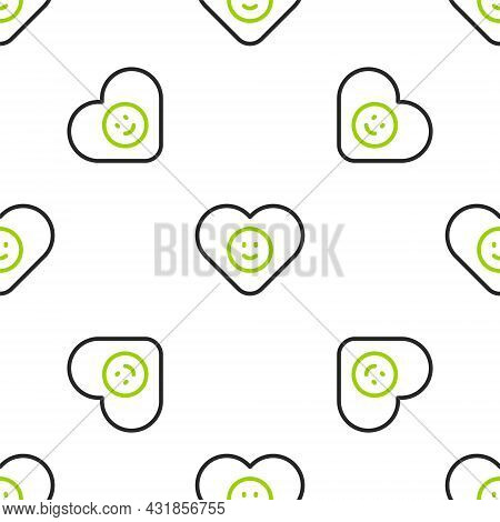 Line Good Relationship Icon Isolated Seamless Pattern On White Background. Romantic Relationship Or
