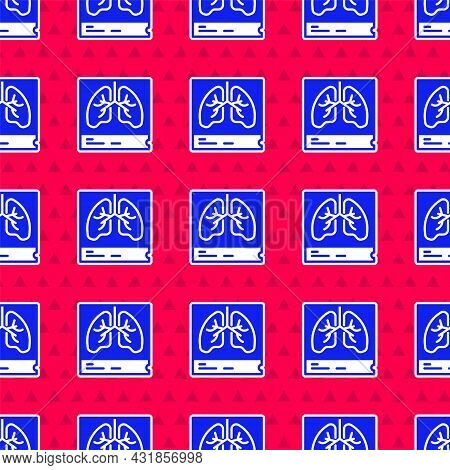 Blue Lungs X-ray Diagnostics Icon Isolated Seamless Pattern On Red Background. Snapshot Of The Lungs