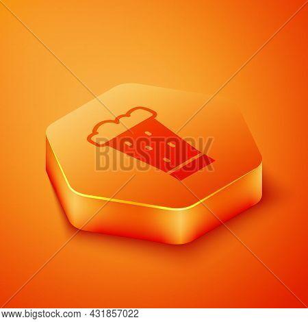 Isometric Glass Of Beer Icon Isolated On Orange Background. Orange Hexagon Button. Vector