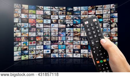 Multimedia Video Concept On Media Wall. Tv Streaming Services, Video On Demand