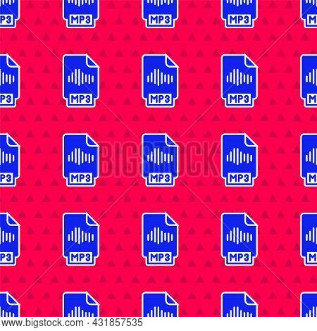 Blue Mp3 File Document. Download Mp3 Button Icon Isolated Seamless Pattern On Red Background. Mp3 Mu