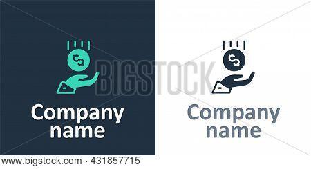 Logotype Coins On Hand - Minimal Wage Icon Isolated On White Background. Logo Design Template Elemen