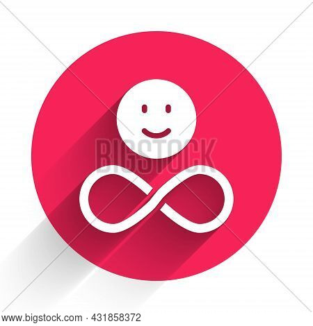 White Friends Forever Icon Isolated With Long Shadow. Everlasting Friendship Concept. Red Circle But